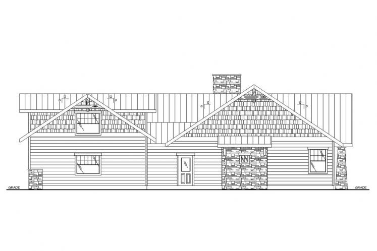 Lodge Style House Plan -  93267 - Right Exterior
