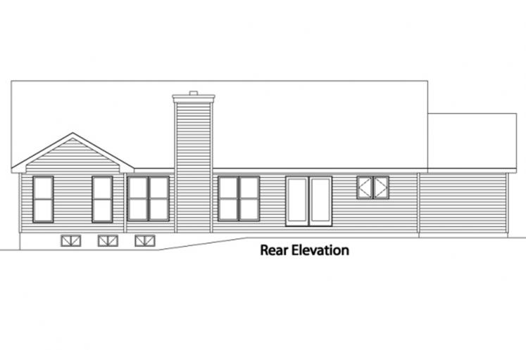 Traditional House Plan -  93441 - Rear Exterior