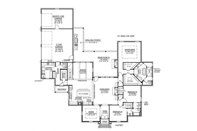Southern House Plan - Squire Creek 93670 - 1st Floor Plan