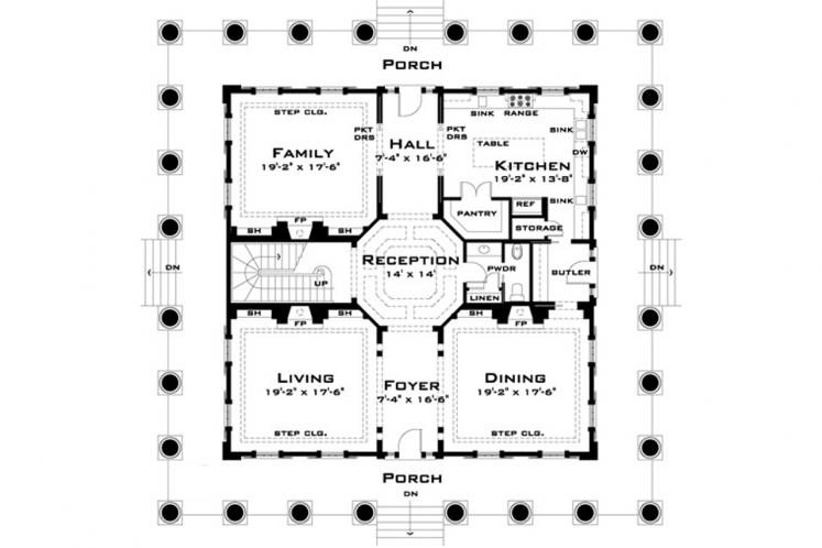 Classic House Plan - Twelve Oaks 93753 - 1st Floor Plan