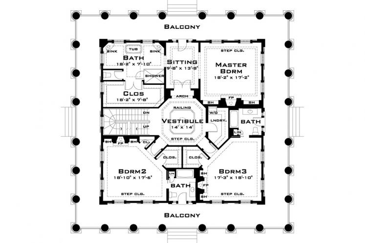 Southern House Plan - Twelve Oaks 93753 - 2nd Floor Plan