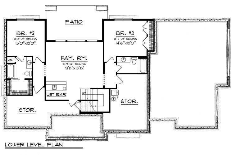 European House Plan -  93993 - Basement Floor Plan