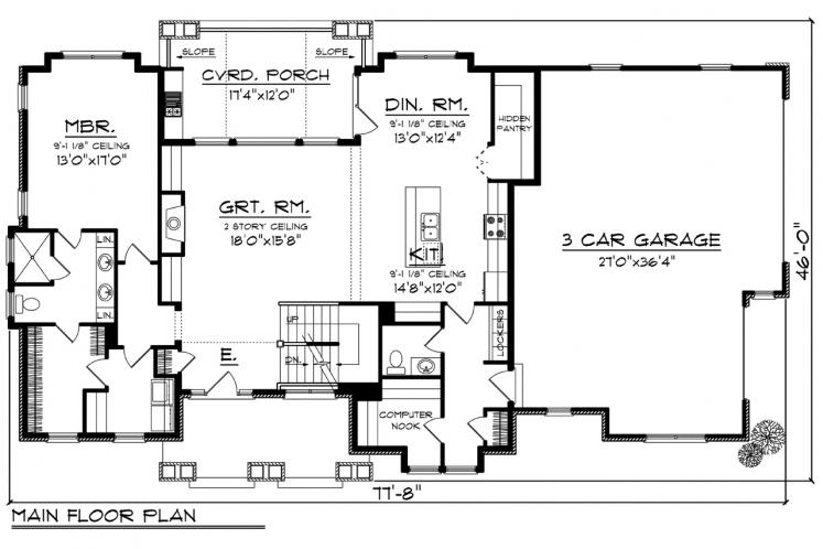 Ranch House Plan -  93993 - 1st Floor Plan