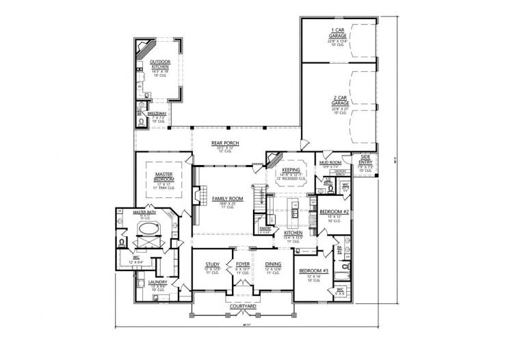 Classic House Plan - Monte Clare 94327 - 1st Floor Plan