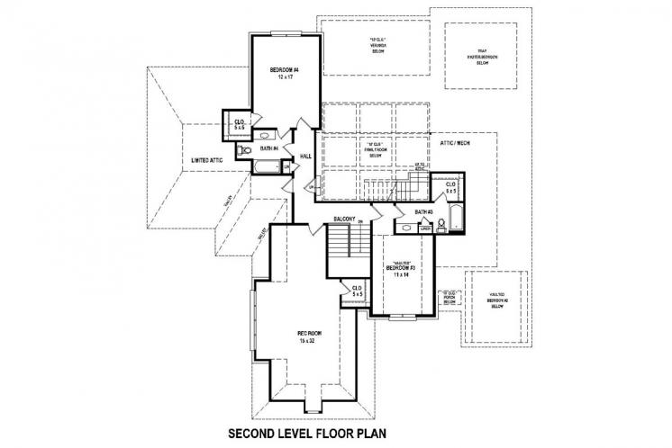 Traditional House Plan -  94508 - 2nd Floor Plan