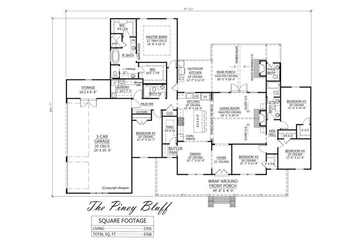 Country House Plan - Piney Bluff 94540 - 1st Floor Plan