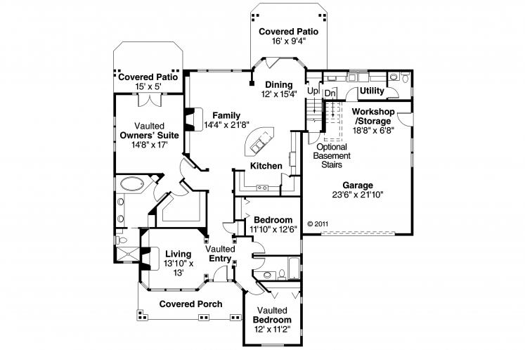 Cottage House Plan - Heartsong 94686 - 1st Floor Plan