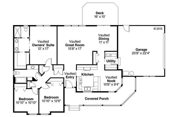 Ranch House Plan - Briarton 94713 - 1st Floor Plan