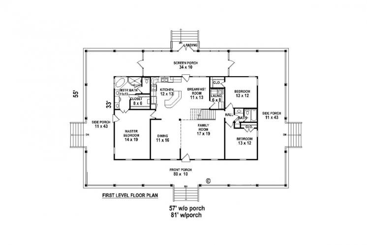 Country House Plan -  94816 - 1st Floor Plan