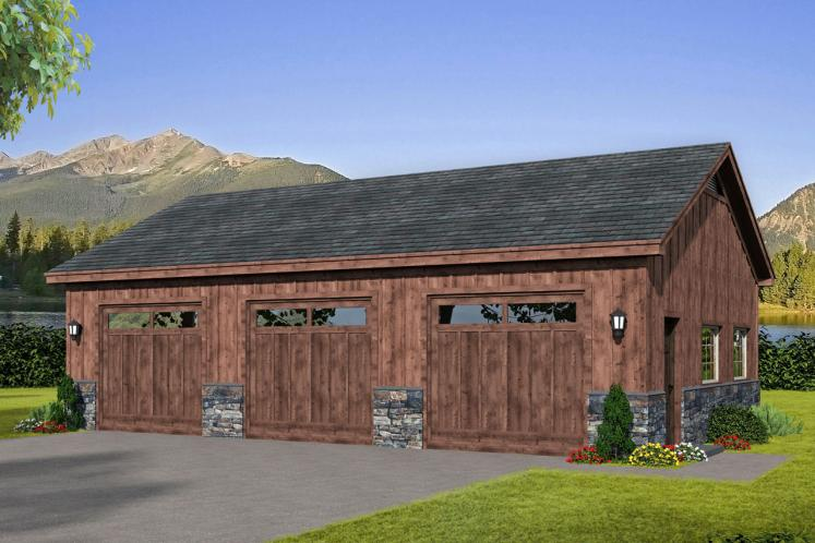 Lodge Style Garage Plan - Pebblestump 95217 - Front Exterior