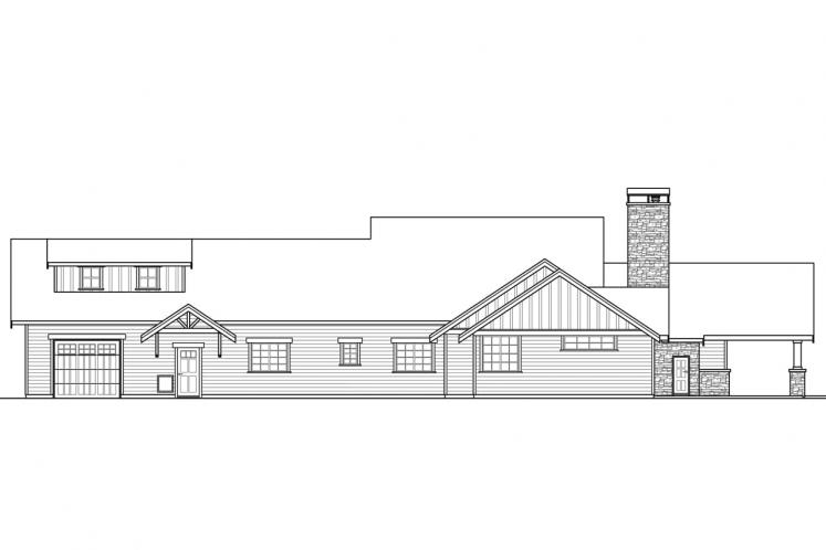 Lodge Style House Plan - Heartfall 95320 - Rear Exterior