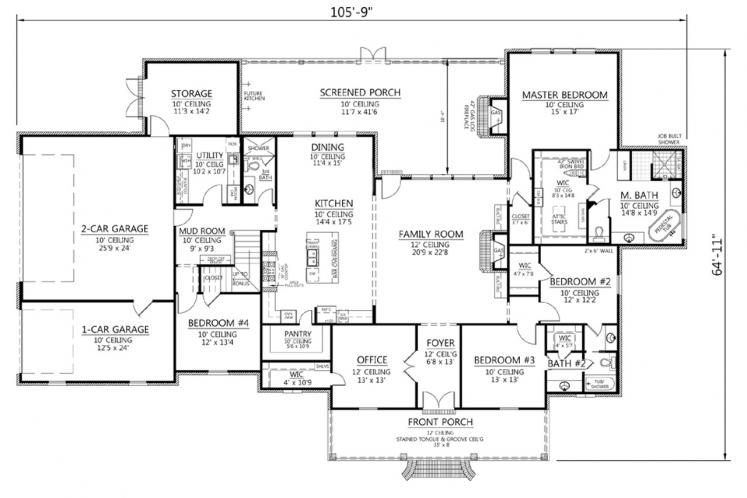 Classic House Plan - Southerner 95383 - 1st Floor Plan