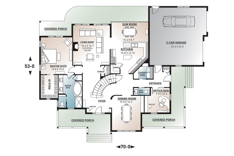 Craftsman House Plan - New Cotton Country 95543 - 1st Floor Plan