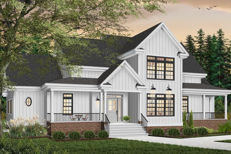 Farmhouse House Plan - New Cotton Country 95543 - Front Exterior