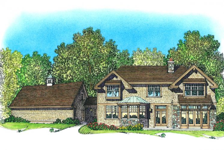 Craftsman House Plan -  95593 - Rear Exterior