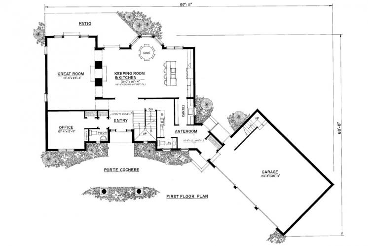 Lodge Style House Plan -  95593 - 1st Floor Plan