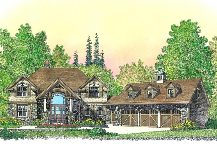 Lodge Style House Plan -  95593 - Front Exterior