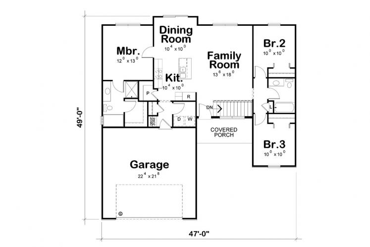 Country House Plan - Crandell 95637 - 1st Floor Plan