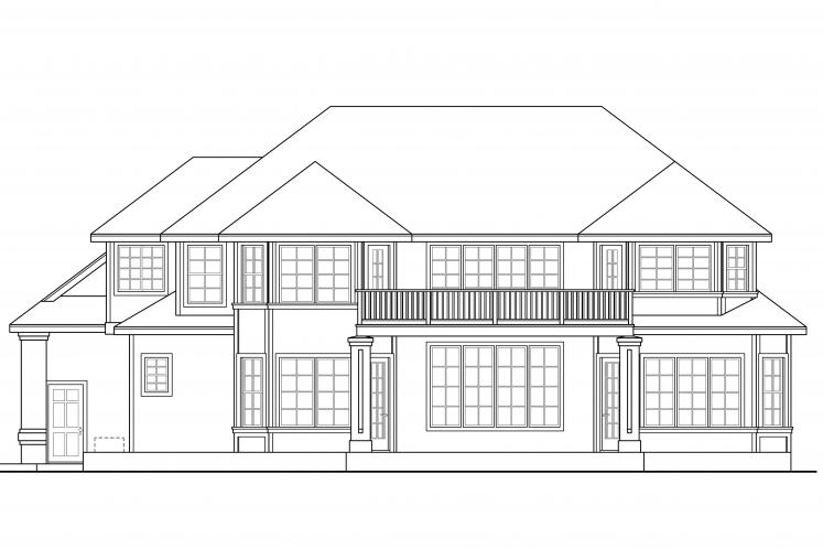 Tudor House Plan - Reynolds 95664 - Rear Exterior