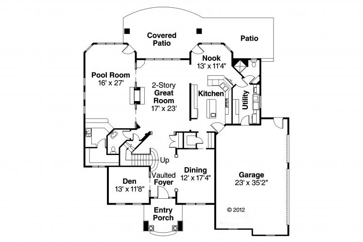 Tudor House Plan - Reynolds 95664 - 1st Floor Plan
