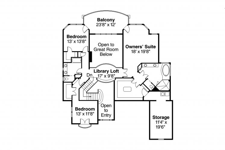 European House Plan - Reynolds 95664 - 2nd Floor Plan