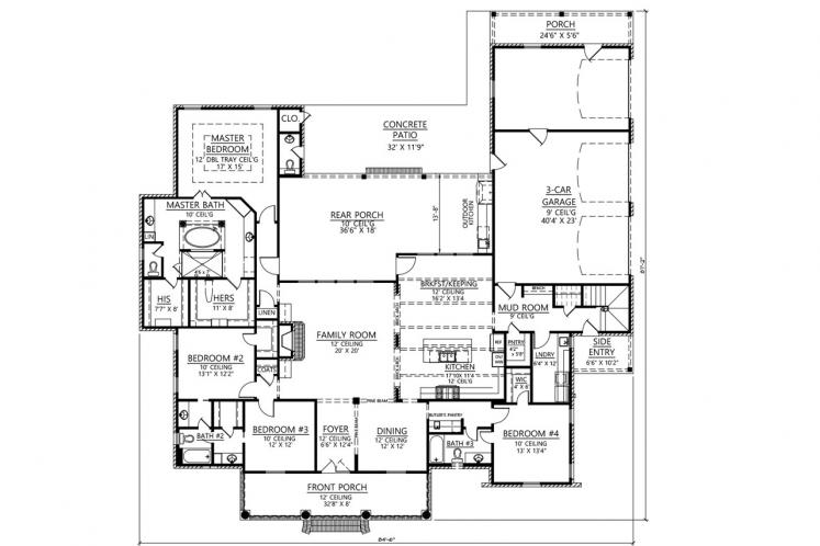 Classic House Plan - Natchez 95876 - 1st Floor Plan