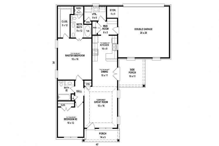 Cottage House Plan -  95882 - 1st Floor Plan