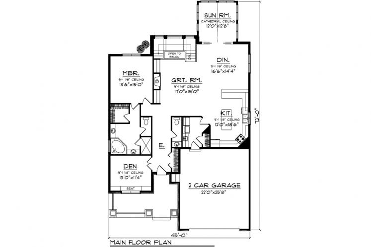 Craftsman House Plan -  96134 - 1st Floor Plan