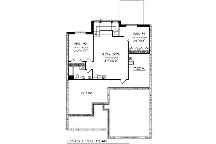 Bungalow House Plan -  96134 - Basement Floor Plan