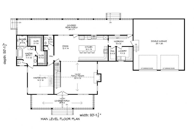 Country House Plan -  96505 - 1st Floor Plan