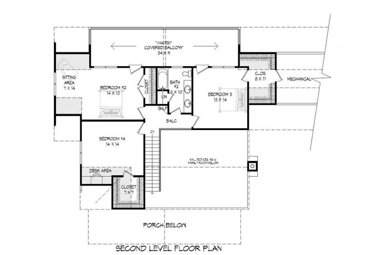 Craftsman House Plan -  96505 - 2nd Floor Plan