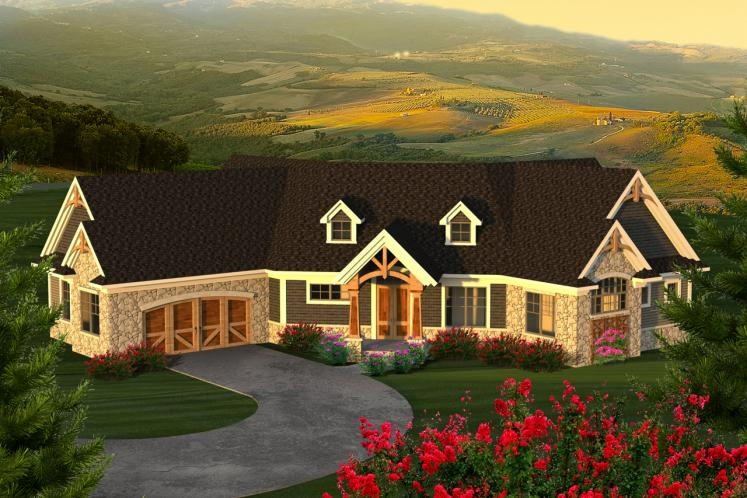 Ranch House Plan -  96530 - Front Exterior