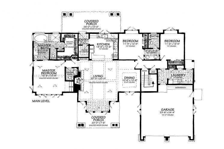 Ranch House Plan - Lewis Ridge 96774 - 1st Floor Plan