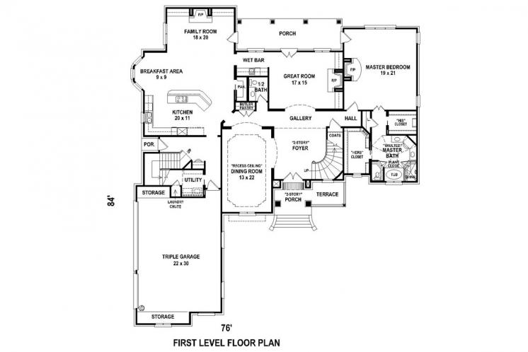 Classic House Plan -  96798 - 1st Floor Plan