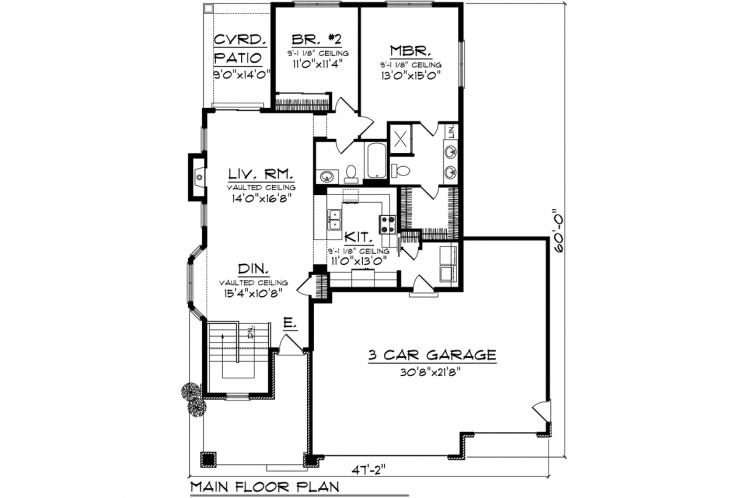 Ranch House Plan -  96920 - 1st Floor Plan