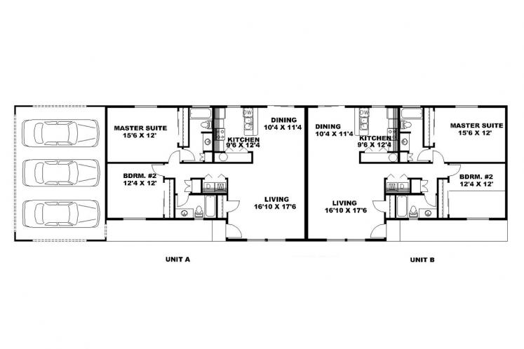 Traditional Multi-family Plan -  96974 - 1st Floor Plan
