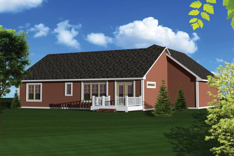 Ranch House Plan -  97067 - Rear Exterior