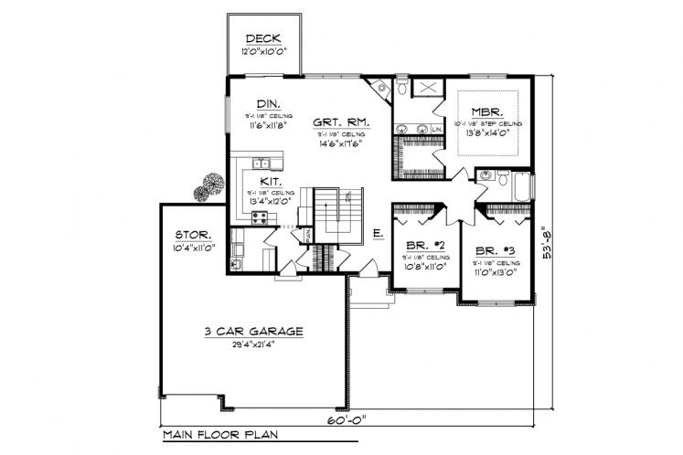 Traditional House Plan -  97067 - 1st Floor Plan