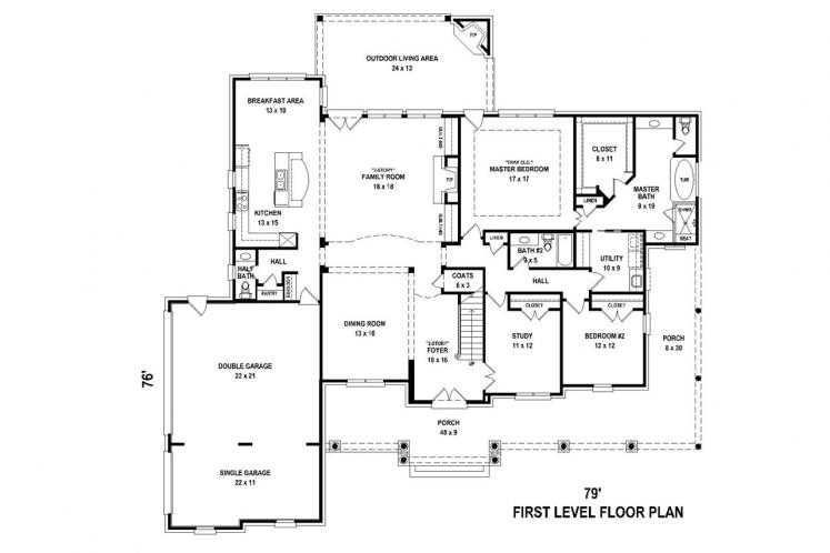 Country House Plan -  97092 - 1st Floor Plan