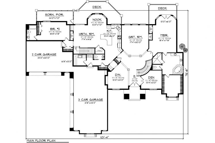 European House Plan -  97125 - 1st Floor Plan
