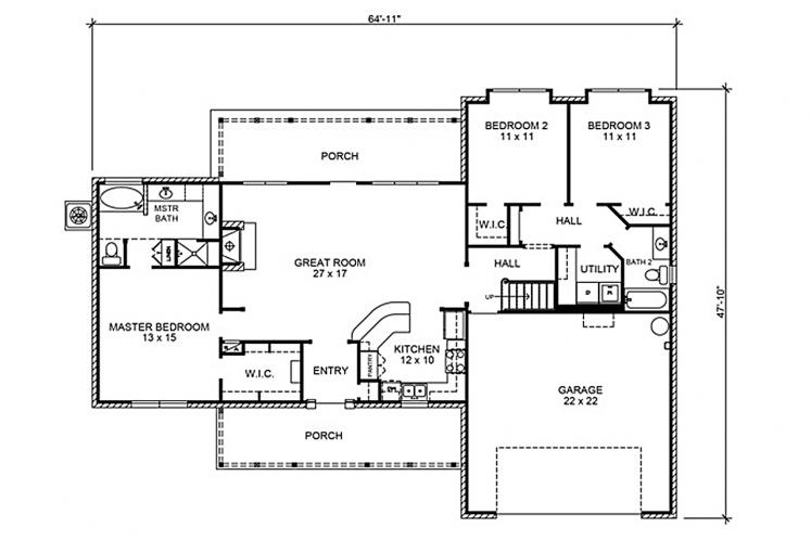 Country House Plan - Augusta 97154 - 1st Floor Plan