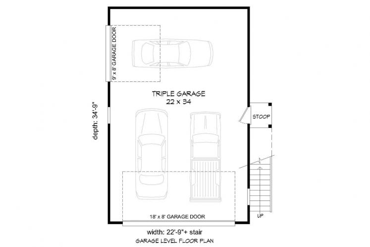 Traditional Garage Plan -  97290 - 1st Floor Plan