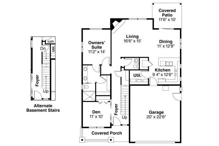Craftsman House Plan - Shasta 97343 - 1st Floor Plan