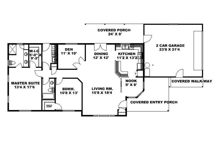 Traditional House Plan -  97371 - 1st Floor Plan