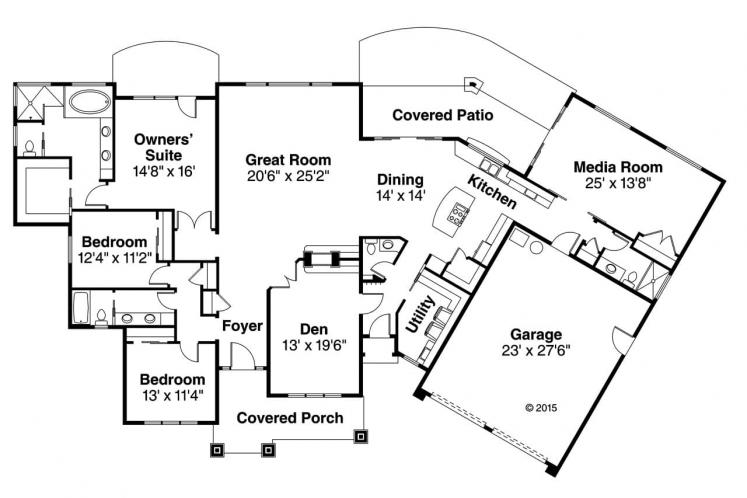Prairie House Plan - Laurelhurst 47347 - 1st Floor Plan