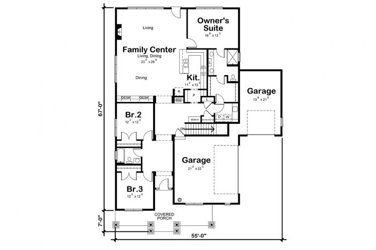 Traditional House Plan - Finley Acres 97823 - 1st Floor Plan