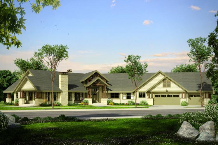 Lodge Style House Plan - Petaluma 98069 - Front Exterior