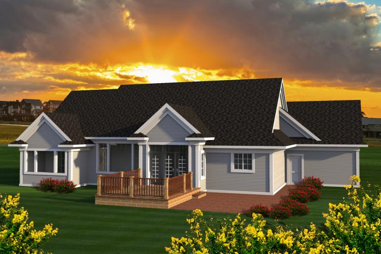 Classic House Plan -  98123 - Rear Exterior