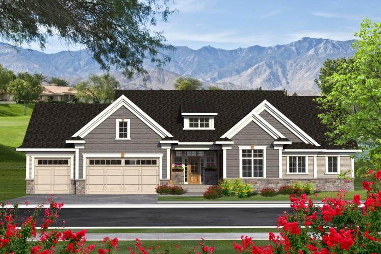 Ranch House Plan -  98123 - Front Exterior