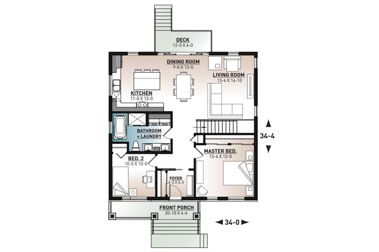 Modern House Plan - Aika 98305 - 1st Floor Plan
